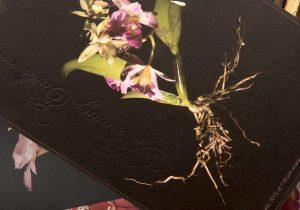 Einladung und Ausstattung für ein luxuriöses Privatfest, konzipiertes Fotoshootings und Inszenierung von tanzenden sich umarmenden Blumen, High End verarbeitete Einladungen mit Letter Press Veredelung und Farbschnitt